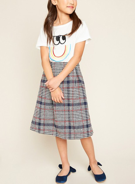 High Waist Plaid Pleats Midi Skirt - orangeshine.com