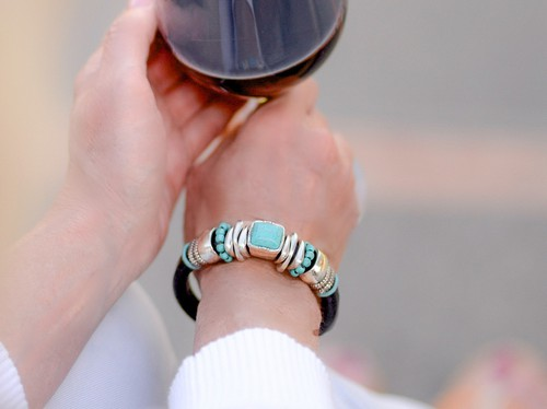 Thick Leather and Turquoise Bracelet - orangeshine.com