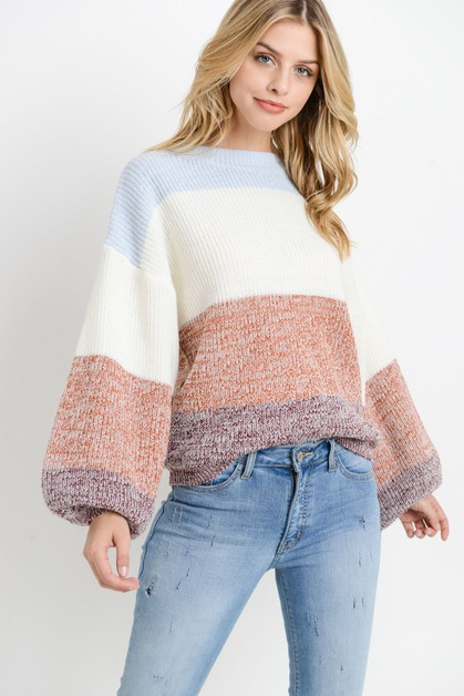 Knit Colorblock Long Sleeves Sweater - orangeshine.com