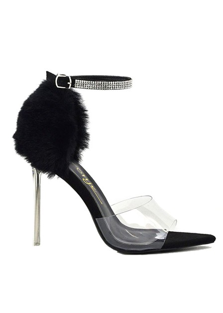 SUEDE PEEP TOE CLEAR HIGH HEEL STRAP - orangeshine.com