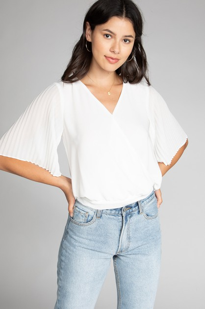 PLEATED SLEEVE OVERLAP CROPPED BLOUSE - orangeshine.com