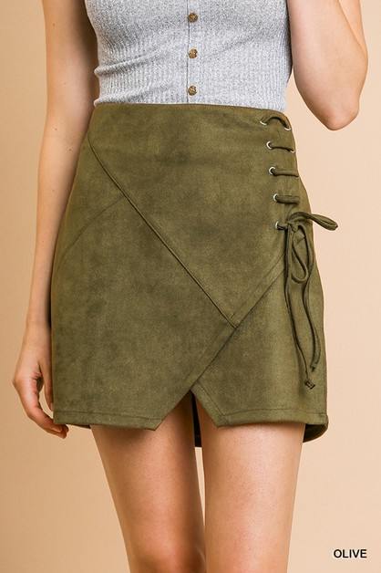 Suede High Waist Mini Skirt  - orangeshine.com