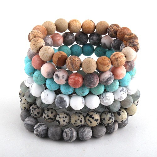 Pack of 2 Frosted stone bracelets - orangeshine.com