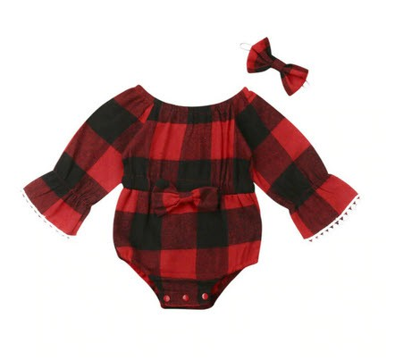 Plaid Romper with headband - orangeshine.com