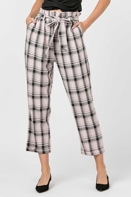 PLAID PANTS WITH WAIST TIE - orangeshine.com
