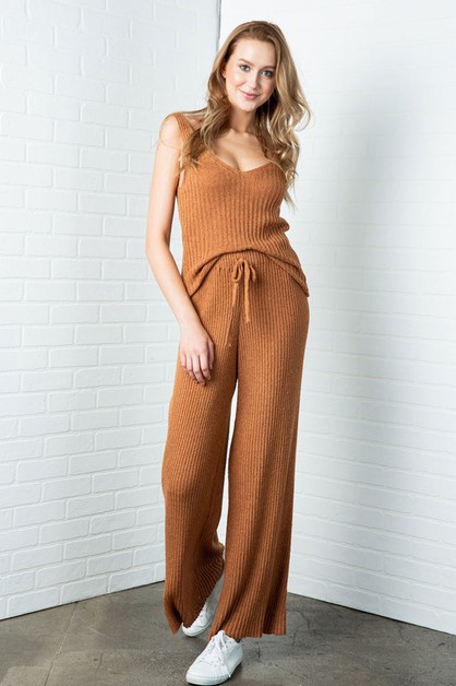 RIBBED KNIT HIGH WAIST PANTS - orangeshine.com