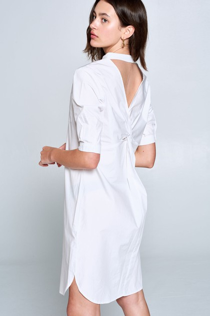 WHITE BACK TWIST KNEE LENGTH DRESS - orangeshine.com