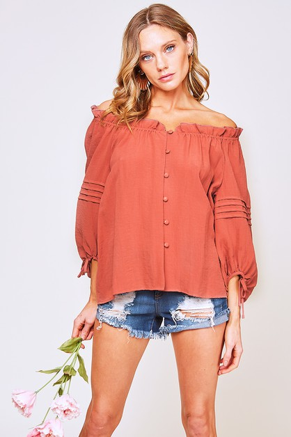 RUFFLED OFF THE SHOULDER TOP  - orangeshine.com