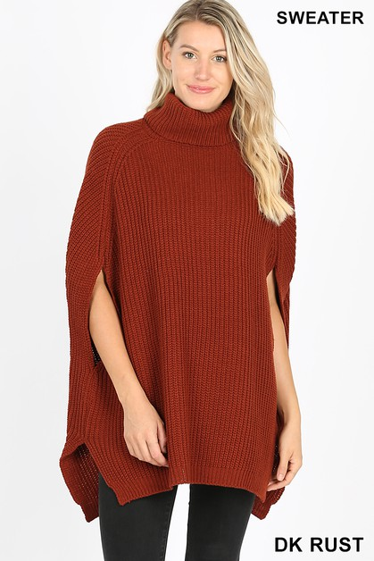 TURTLENECK PONCHO SWEATER - orangeshine.com
