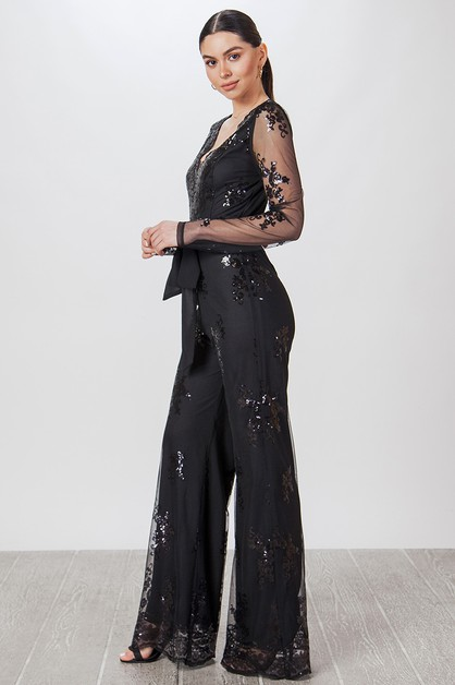 LACE SEQUIN JUMPSUIT  - orangeshine.com