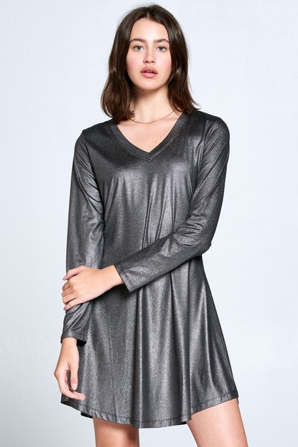 METALLIC BLACK LONG SLEEVE DRESS - orangeshine.com