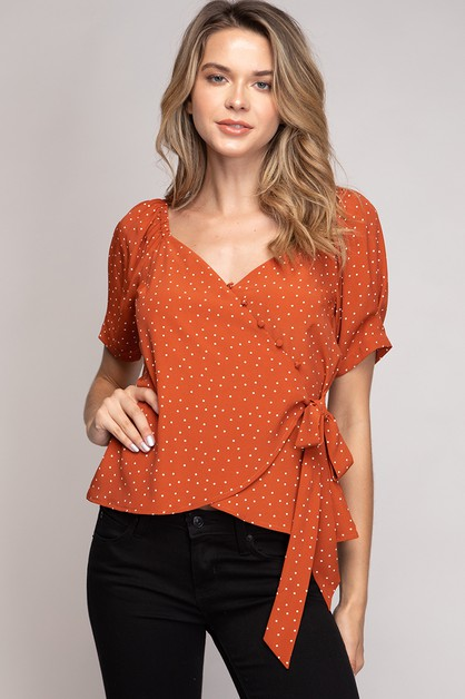 POLKA DOT WRAP TOP - orangeshine.com