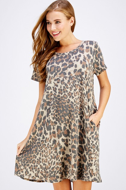 LEOPARD POCKET SWING DRESS - orangeshine.com