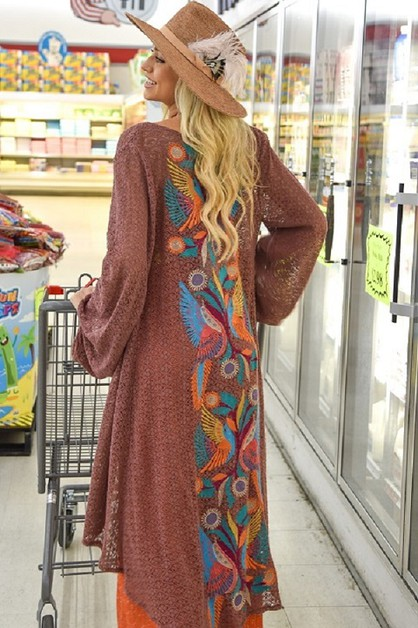 BROWN CROCHET DUSTER EMBROIDERY - orangeshine.com