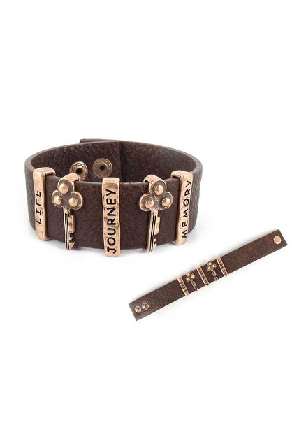RUSTIC KEY LEATHER BRACELET - orangeshine.com