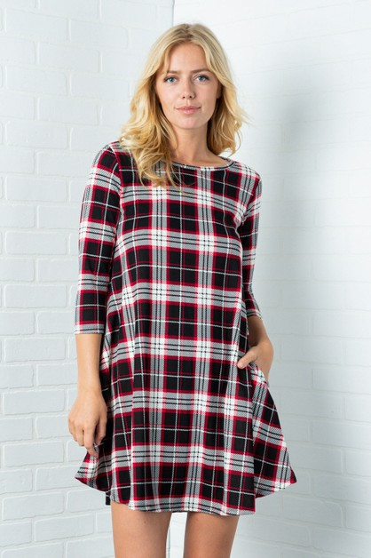 Plaid Long Sleeves Flare Dress - orangeshine.com