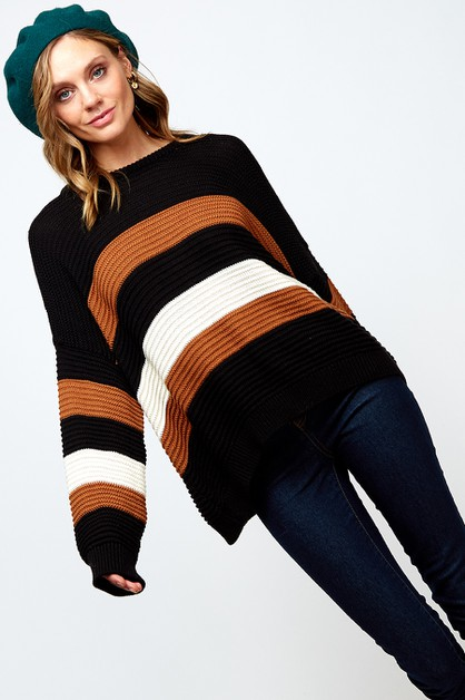 COLOR BLOCKED SWEATER TOP - orangeshine.com
