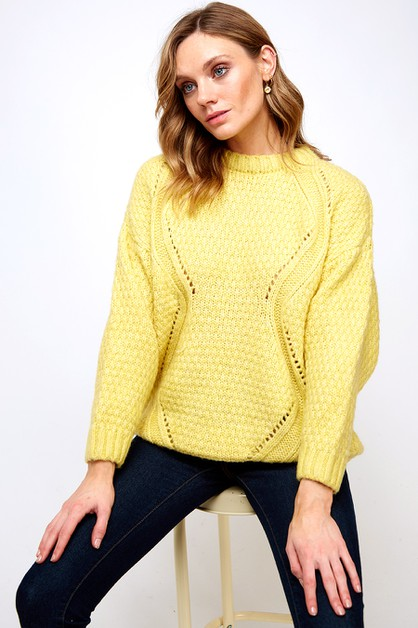PATTERNED  SWEATER TOP  LOOSE FIT - orangeshine.com