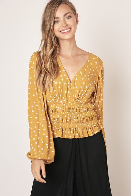 POLKA DOT V-NECK BLOUSE - orangeshine.com