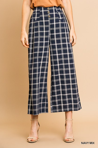 Checkered High Waist Wide Leg Pant - orangeshine.com