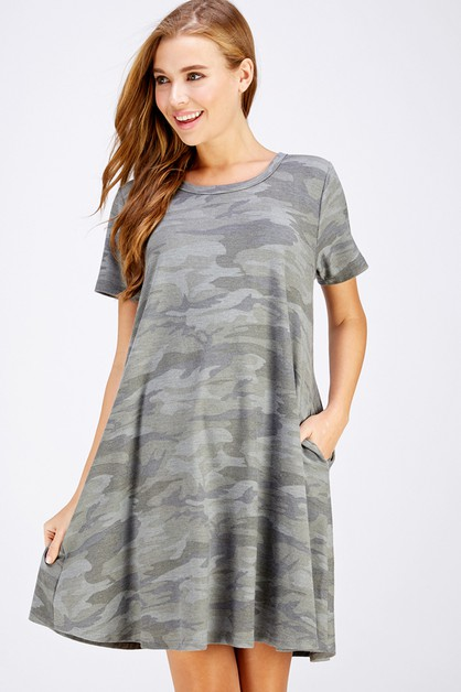 CAMO POCKET SWING DRESS PLUS - orangeshine.com