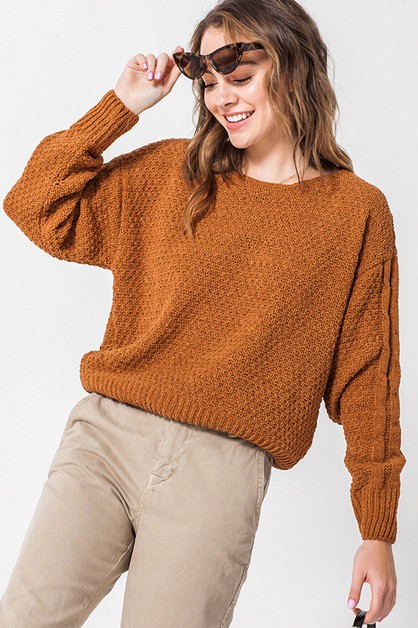 CROP OVERSIZED SWEATER - orangeshine.com