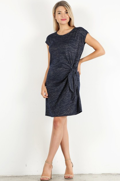 relax fit knotted detail dress - orangeshine.com