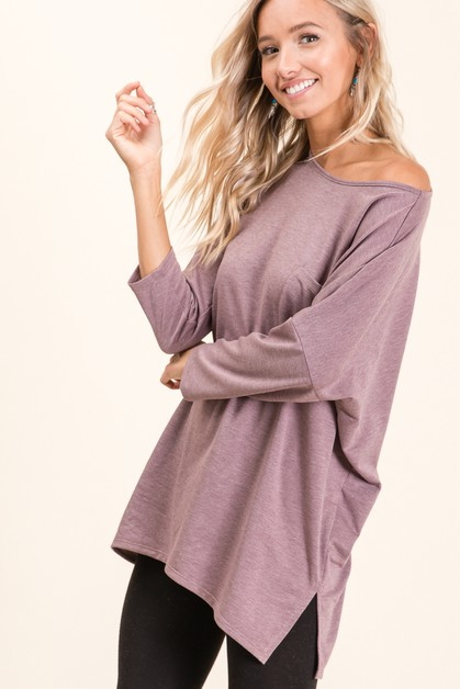 Off Shoulder Dolman Sleeve Top - orangeshine.com