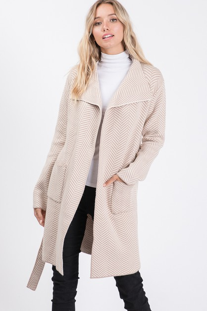 Herringbone long sweater cardigan - orangeshine.com