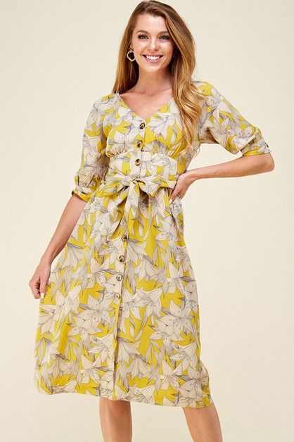 Floral button down dress - orangeshine.com