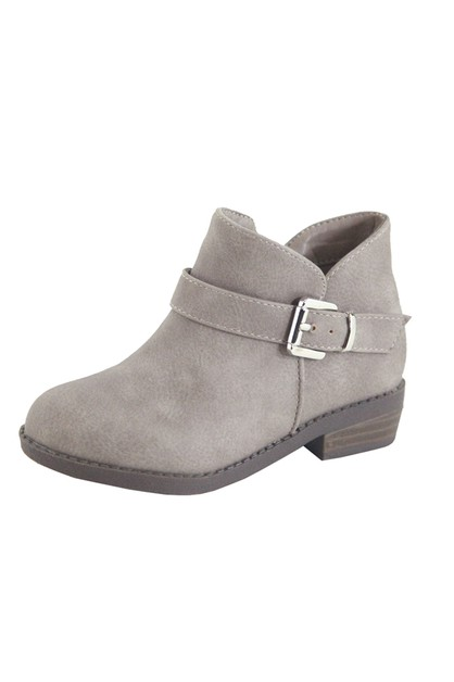 Kid Almond Toe Stacked Heel Booties - orangeshine.com