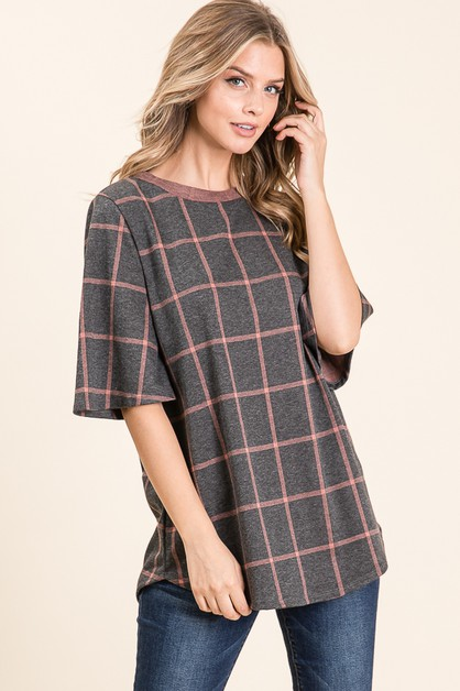 PLAID SEMI BELL SLEEVE TUNIC  - orangeshine.com