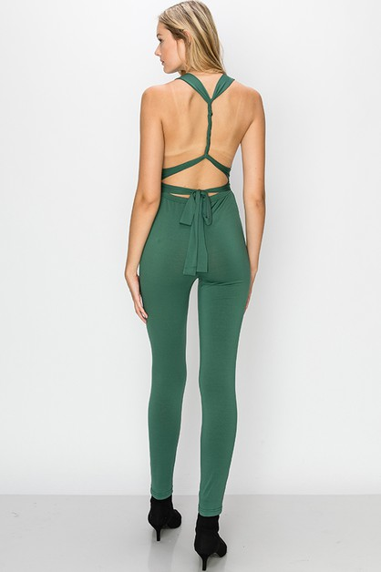 DEEP V OPEN BACK JUMPSUIT WITH WAIST - orangeshine.com