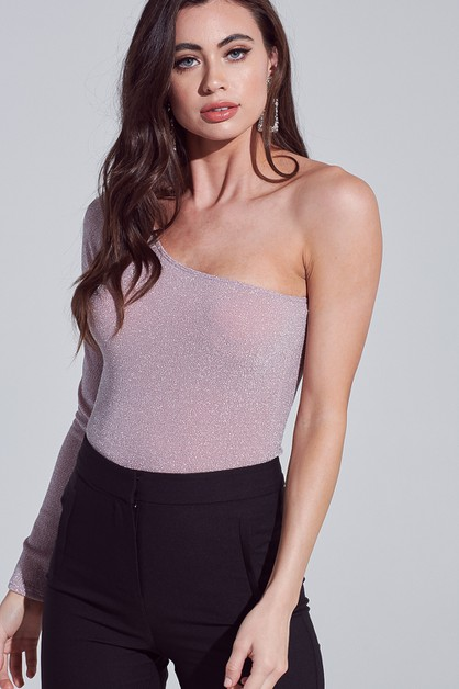 GLITTER ONE SHOULDER BODYSUIT - orangeshine.com