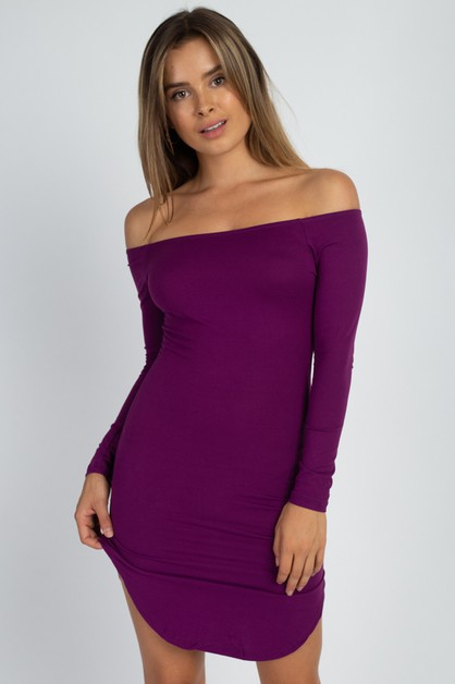 Dolphin Hem Open Shoulder Dress - orangeshine.com