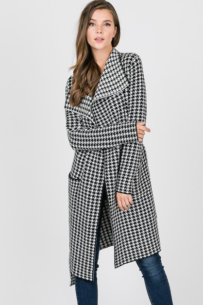 Houndstooth sweater cardigan - orangeshine.com
