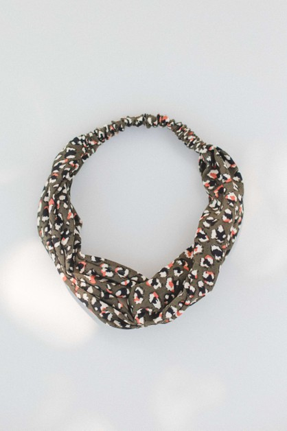 Olive Mini Leopard Head Band - orangeshine.com