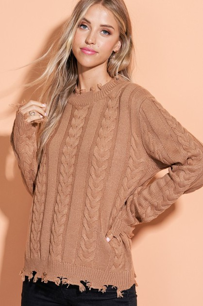 Distressed Hem Sweater - orangeshine.com