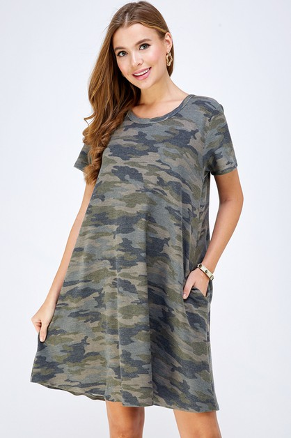VINTAGE CAMO POCKET SWING DRESS PLUS - orangeshine.com