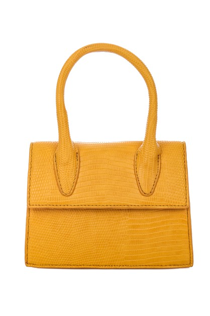 Faux Leather Double Button Handbag - orangeshine.com