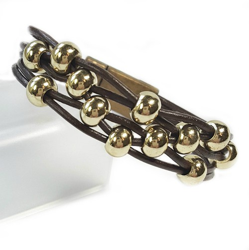 Leather Magnetic Bracelet Gold Beads - orangeshine.com