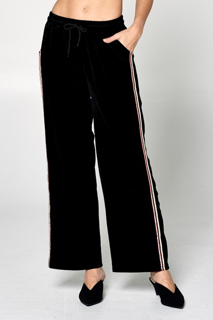 VELOUR WIDE PANTS - orangeshine.com