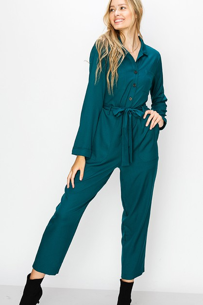 BUTTON UP JUMPSUIT - orangeshine.com