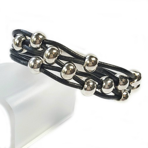 Black Leather Bracelet Silver Beads - orangeshine.com