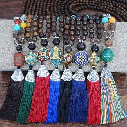 Boho long stone tassel necklace - orangeshine.com
