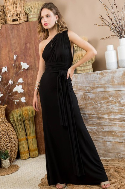 Deep V Multi way Contrast Maxi Dress - orangeshine.com