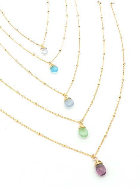 Delicate Stone Charm Necklace - orangeshine.com