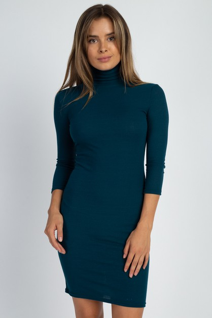 Ribbed Mock Neck Dress - orangeshine.com
