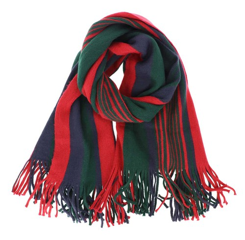 Green Multi Striped Oblong Scarf - orangeshine.com