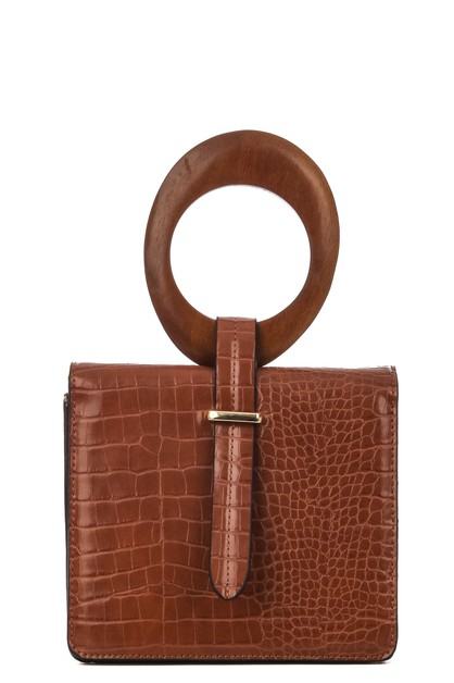 Wooden Hoop Handle Faux Leather Bag - orangeshine.com